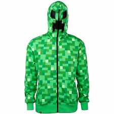 Minecraft Creeper Adult Premium Hoodie Zip Up Officially Licensed Authentic