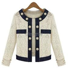 New Hot Sales Women Beige Lace Coat Long Sleeve Jacket Button Short Outerwear OK