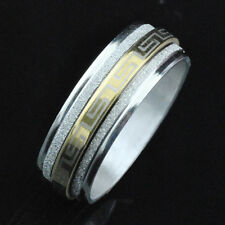 Fashion Men's Charm Jewelry Stainless Steel Rings Figure Print Spin Band Hot