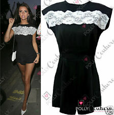 Womens Party Black Lace Mini Going Night Out Dress Romper Towie Celeb Playsuit
