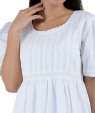 White Cotton Victorian Edwardian Florence Nightingale Plus Size Nightdress A480