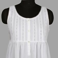 White Cotton Victorian Edwardian Florence Nightingale Plus Size Nightdress B540