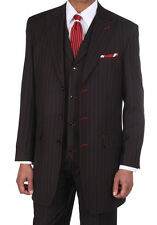 "Men's Classic Pinstripe Suit W/Matching Vest And Pants Black 38R~56L 36"" Length"