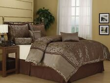 Nanshing Manville Comforter Set Quilted 7 piece Luxury Brown King/Queen