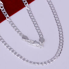 """Hot Sale 4mm 925 Sterling Solid Silver Plated Men's Curb Chain Necklace 16""""-30"""""""