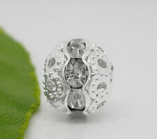 Wholesale Lots Silver Plated Clear Rhinestone Hollow Spacer Beads 10x9.5mm