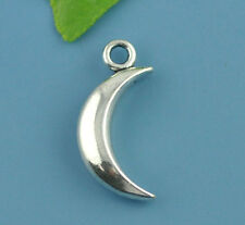 Wholesale Lots Silver Tone Smooth Moon Charm Pendants 31x14mm
