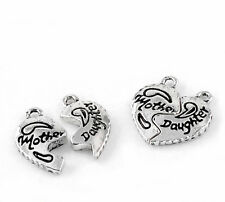 Wholesale Lots Silver Tone Letters Carved Love Heart Charm Pendants 19x20mm