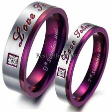 "Stainless Steel ""Love Token"" Purple Engagement Promise Ring Couples Wedding Band"