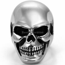 Huge Heavy Silver Stainless Steel Punk Gothic Biker Skull Men's Supergiant Ring