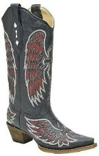Womens Corral Black, Red, and Silver Angel Wing Cross Leather Cowboy Boots