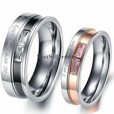 Couples Stainless Steel 2-Tone 2 Emerald Cut CZs Engraved My Only Love Band Ring