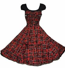 LADIES 40s 50s VINTAGE RETRO ROCKABILLY FLARED DRESS SMALL SIZE 8 & 10 SALE BNWT