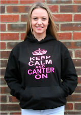 Keep Calm and Canter on' Classic Black Hoodie with Hot Pink Print