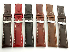 Genuine Leather Watch Strap Band fits Breitling SS Buckle RM