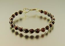 Wire Wrapped Handmade Gold Filled Red Tiger Eye Bead Bracelet