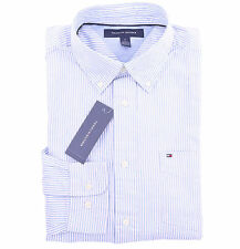 Tommy Hilfiger Men Long Sleeve Button Down Stripe Blue Casual Shirt - $0 Ship