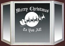 Christmas Wall Window Sticker Santa Sleigh Reindeer Shop Vinyl Decal #1