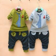 "New baby boys outerwear+long Pants Set Clothes boys Costume ""tie"" size:1-5Y  GP"