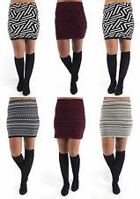 Ladies Womens New Knitted Mini Skirt Winter ZigZag Pattern Size 8 -14