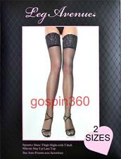 SPANDEX/LYCRA STAY UP 5 Inch LACE TOP SHEER Stockings O/S & PLUS 4 COLORS