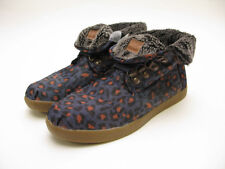 WOMENS TOMS HIGHLAND BOTAS BLUE LEOPARD DENIM FLEECE 10000661