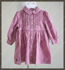 RL Baby Layette Girl Ruffles Chest Gingham Shirt dress w panty - Red 6M / 9M