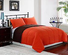 ORANGE/BROWN - QUEEN Size 3pc Reversible Down Alternative Comforter Set, Bedding