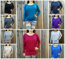 10 Colors Solid Dolman Round Rayon Neckline Top Long Sleeves Tunic Soft Comfy