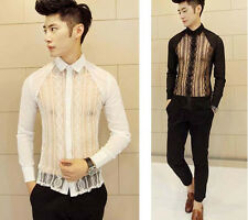 Hot Mens Mod Unique Sexy Lace Front See Through Lightweight Slim Fit Shirt Top