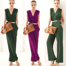 Womens V Neck Sleeveless Wear to Work Prom Cocktail Jumpsuit Long Wide Leg Pants