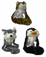 Childrens 3 in 1 Fleece Lined Furry Animal Hat with Scarf Attached