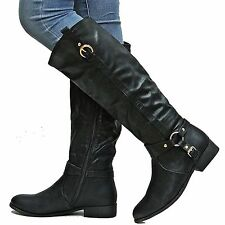 New Womens Edk7 Black Cowboy Riding Knee High Boots Sz 6 to 10