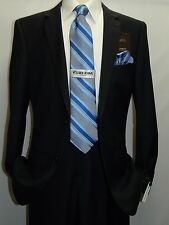 Mens Wool Cashmere Solid Navy Business Suit Giorgio Cosani Two Button 900 Slim