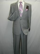 Mens Wool Cashmere Light Gray Business Suit Giorgio Cosani Two Button 900 Slim