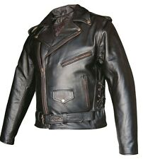 Men's Motorcycle Jacket in Premium Black Buffalo Leather