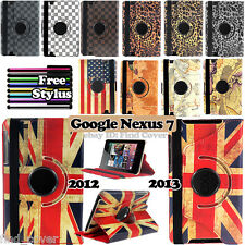 Google nexus 7 1st 2012 2nd  2013 -- 360 Deg Rotating Stand Leather Case Cover