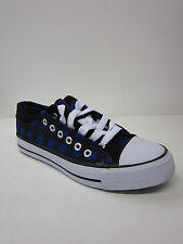 LADIES SPOT ON LACE UP TOE CAP CANVAS F8508CC BLACK AND BLUE