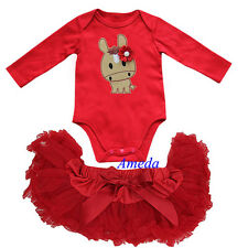 Baby Red Pettiskirt Tutu Year of the Horse 2014 Bodysuit Romper Party Dress 0-6M