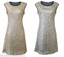NEW EX C&A SILVER GOLD BLACK SPARKLY SEQUIN SHIFT DRESS EVENING PARTY COCKTAIL