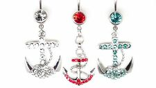 Dangle Belly Button Ring Anchor Gems curve Bar Navel Naval Sail Boat Ship Cz new