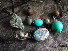 925 sterling silver MEN'S POWER gemstone TURQUOISE leather necklace GIFT