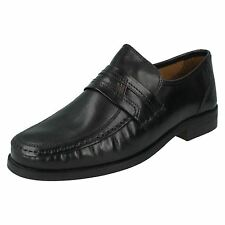 MENS CLARKS BLACK LEATHER SLIP ON FORMAL WIDE FITTING OFFICE SHOES ASTUTE DROP