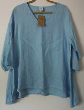 Match Point Linen HLT185 V-Neck 3/4 Sleeve Angel Winged Pullover Top Shirt NEW!
