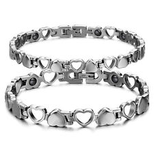 Couple Titanium Stainless Steel Link Bracelet Bangle with Open and Solid Hearts