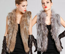 New Real Knit Rabbit Fur Vest Gilet With Raccoon Collar Wastcoat For Ladies