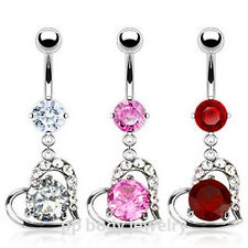 """1pc. 14G~3/8"""" Steel Journey Heart Loop with a Prong CZ Navel Ring (Choose Color)"""