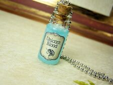 Unicorn Blood Glass Bottle Necklace - Cork Vial Pendant Charm - Kawaii Potion