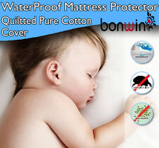 Fully Fitted Quilted Padded Cotton Waterproof Mattress/Pillow Protector/Cover