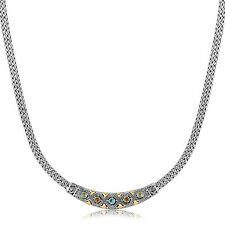 Diamond Pattern and Multi Stone Accented Wheat Bar Necklace in 18K Yellow Gold